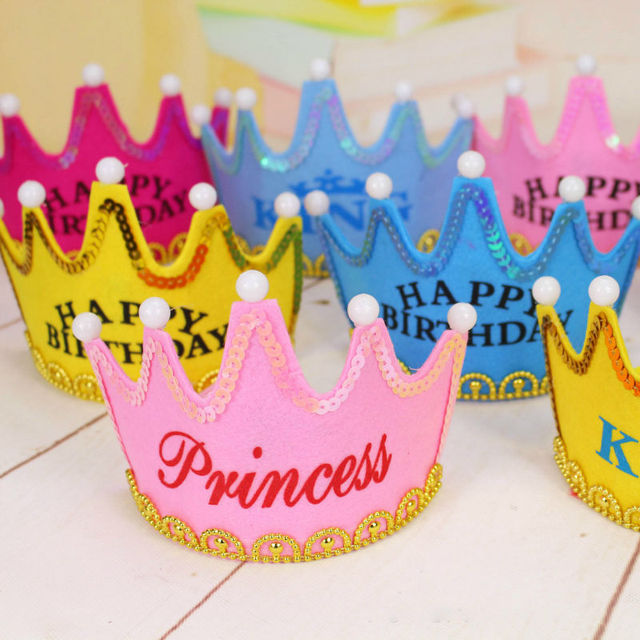 Birthday Cake Candles Luminous Light Crown Hat Adult Children Party Dress Up Non Woven Fabrics