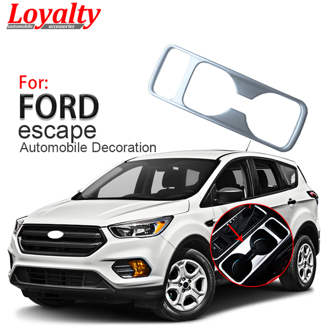 Loyalty For Ford Escape Kuga 2017 2018 Front Water Cup Holder Cover Trim Frame Abs Chrome