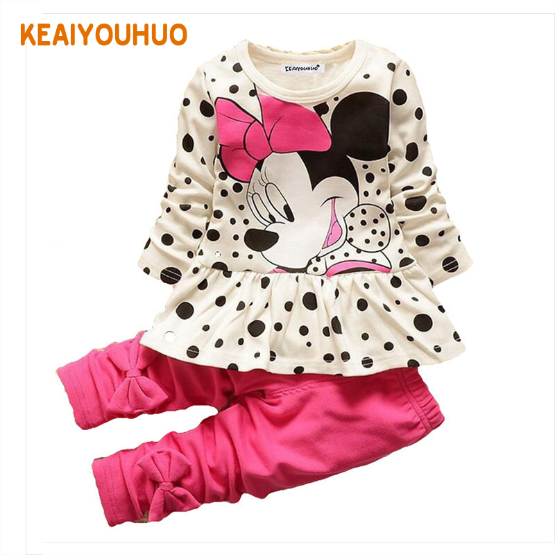 Boys & Girls Cotton Spring Autumn sport suit Kids Clothing set Kids Casual clothes baby boys & Girls dot print set white 1-5 y