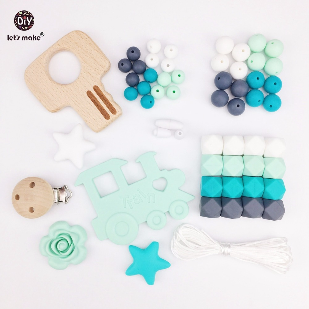Lets Make Baby Silicone Teether Beads Pacifier Clips Wooden Key Teething Accessories DIY Jewelry Nursing Necklace Baby Teether