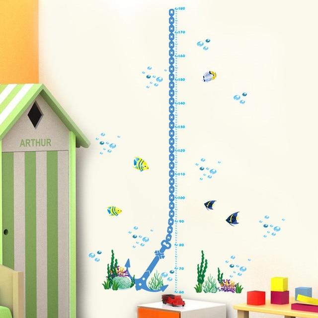 Kleurrijke onderwater bubble vis muurstickers hoogte meet groeimeter ...