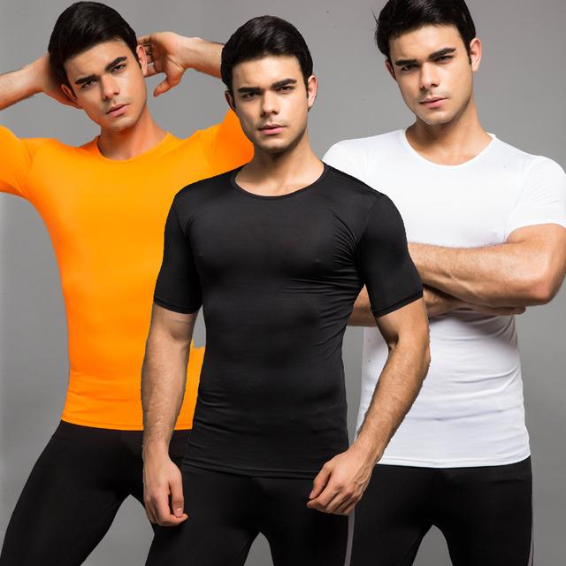 Venta caliente de Los Hombres Tops Capa Base de Manga Corta camisetas color sólido causal hombres de fitness clothing 6 colores del o-cuello ocasional Tops