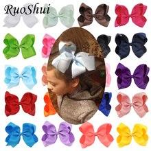 Fashion 6 Inch Cute Boutique Grosgrain Ribbon Bows Children Hairpins Little Girl Bows Hair Clips Kids Headwear Hair Accessories цена 2017