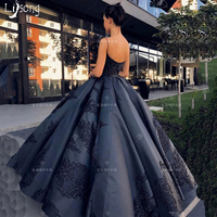 Navy Blue Appliques Pleated Puffy Ball Gowns Formal Occasion Elegant Evening Dress Custom Made Maxi Gown Vintage Chic Vestidos