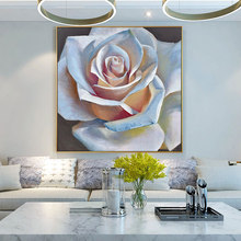 100% Hand Painted Big White Rose Art Oil Painting On Canvas Wall Adornment Pictures For Living Room Home Decor