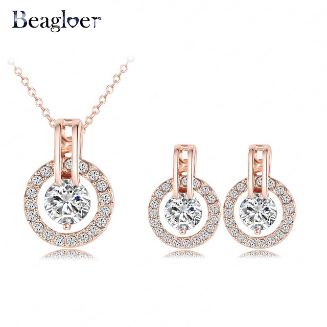 Beagloer Classic Jewelry Set Rose Gold Color Austrian Crystal Necklace  Pendant Earring Set For Women ST0017-A-2 Size 12 18mm 0bf40e364cc2