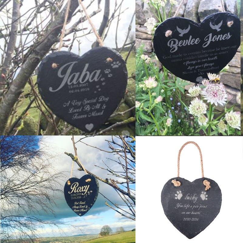 Personalised Engraved Heart Shape Natural Slate Pet Memorial Grave Marker Plaque