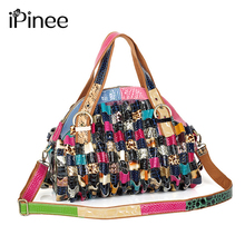 iPinee Brand Leather Bags Female Fashion Snake Pattern Hobo