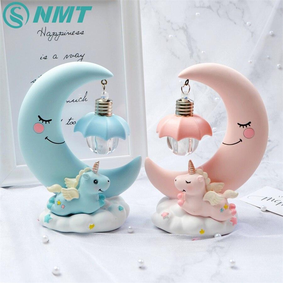 LED Night Light Unicorn Moon Resin Cartoon Baby Night Lamp Romantic Bedroom Decor For Kid Girl Children Birthday Christmas Gift