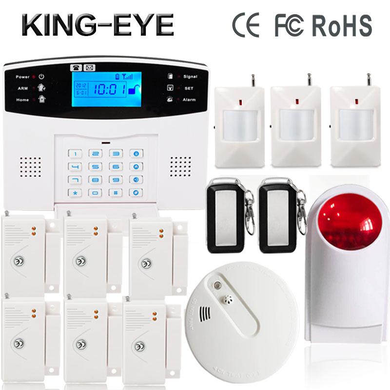 433 MHz Wireless Russian/Spanish/Turkish voice sms GSM alarm system security home with outdoor wireless siren smoke detector wireless smoke fire detector for wireless for touch keypad panel wifi gsm home security burglar voice alarm system