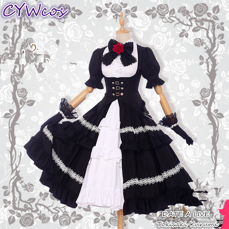 Pre-sale Anime Cosplay DATE A LIVE Nightmare Tokisaki Kurumi Cosplay Costume Girl Lolita Dress Party Outfits