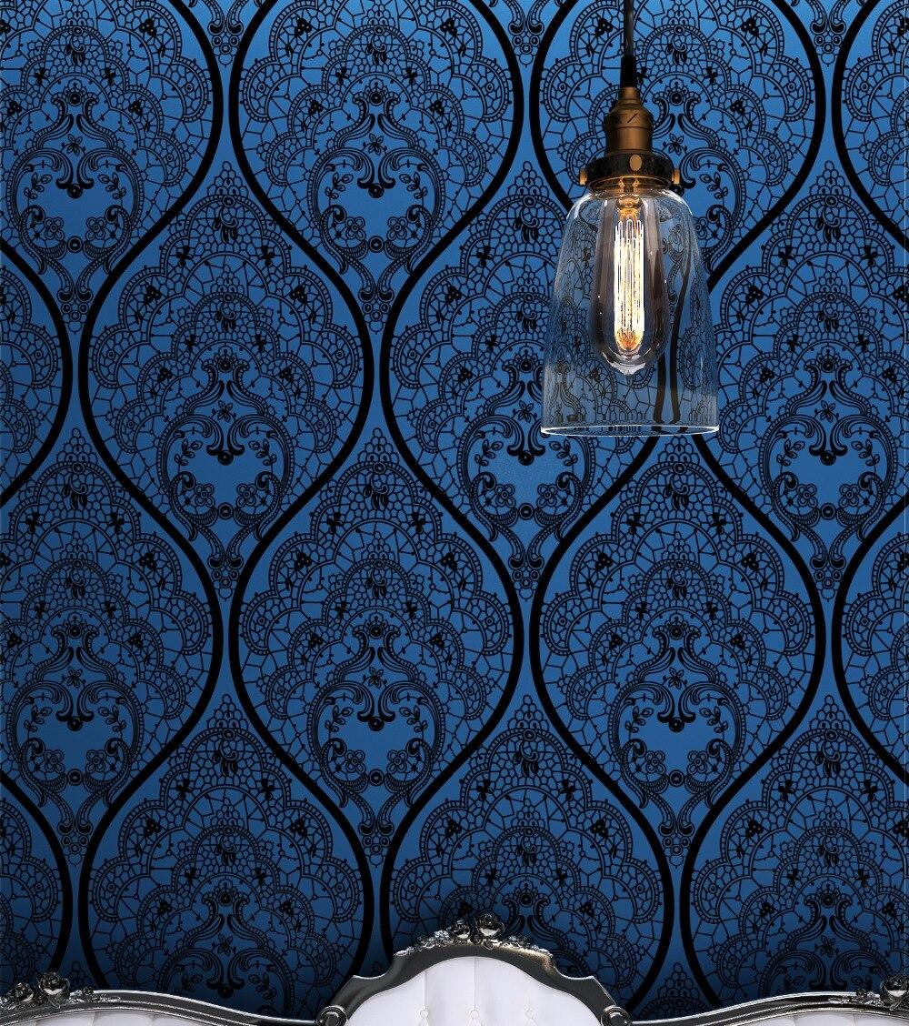 Nouveau Designer Bleu Mystère Papier Peint Damas Velours Troupeau Textile Revêtement Mural isolation phonique papel de parede