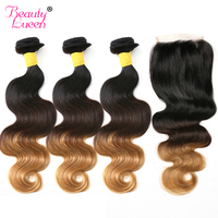 Ombre Brazilian Hair Bundles With Closure Body Wave Human Hair 3 Bundles With Closure Non Remy