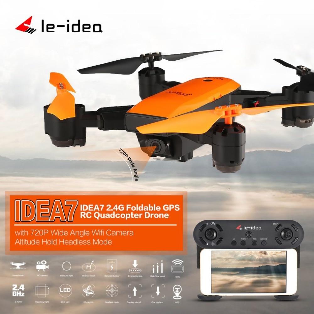 Здесь можно купить  Le-idea IDEA7 2.4G RC Drone Foldable Quadcopter with 720P Wide Angle Wifi Camera GPS Altitude Hold Headless One Key Return  Бытовая электроника