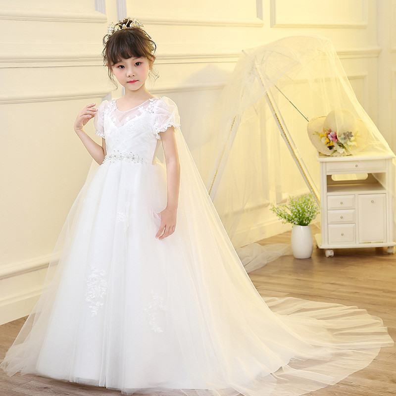 Children Elegant Mesh Ball Gown Kids Girl Lace Princess Prom Party Dress Teens Girl Applique Embroidery Flower Bead Vestidos Q96Children Elegant Mesh Ball Gown Kids Girl Lace Princess Prom Party Dress Teens Girl Applique Embroidery Flower Bead Vestidos Q96