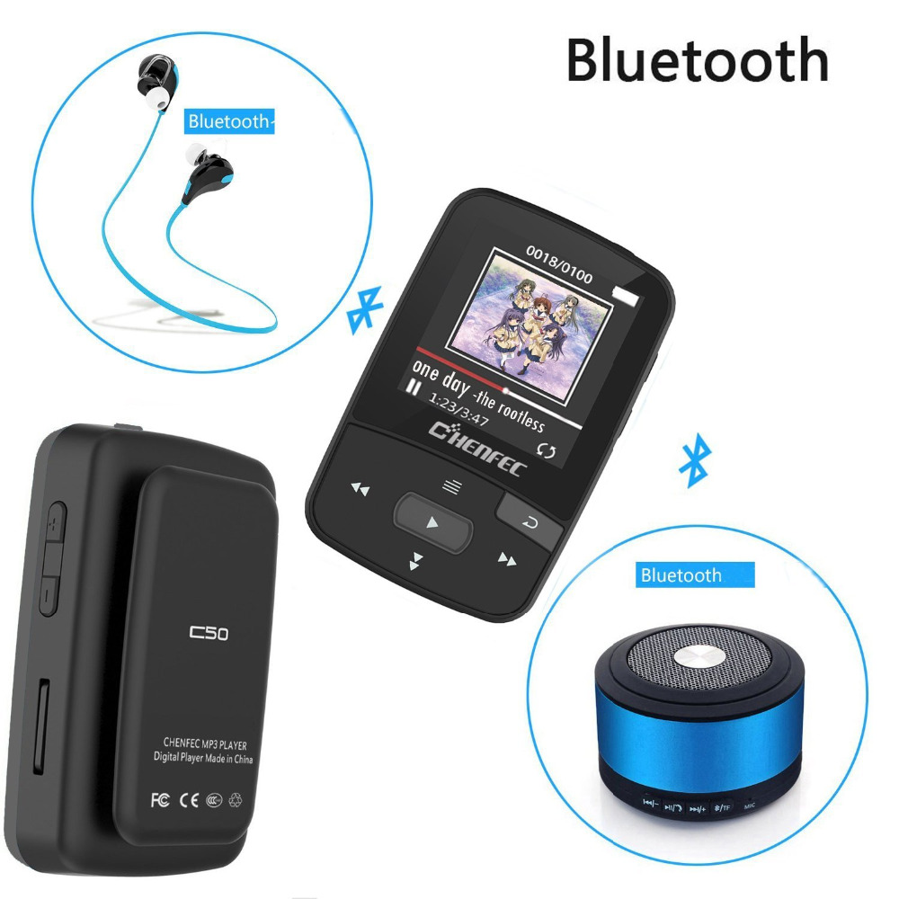 Original CHENFEC C50 8GB Clip Mini Sport MP3 Music Player Running with Screen Can Play 30 Hours with FM Radio Support up to 64GB