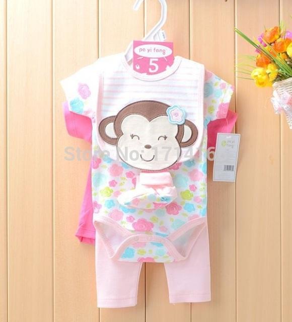 582ba7060 Baby Girls Clothing Sets Monkey Pink Cute Babies Bodysuits Tops PP ...