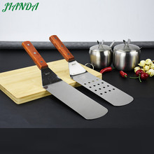 Kitchenware Stainless Steel Steak Slotted Turner Round Head Spatula Cooking Fried Shovel With Wooden Handle
