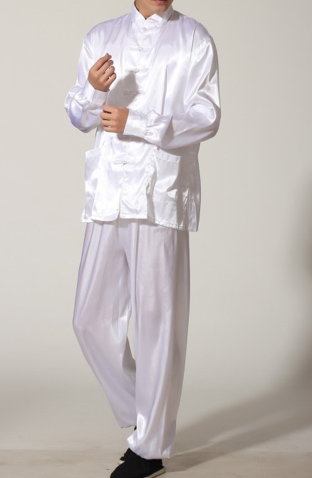 White Chinese Men's Polyester Satin clothing set Wu Shu suits tracksuit Kung Fu Suit SIZE S M L XL XXL XXXL M0048