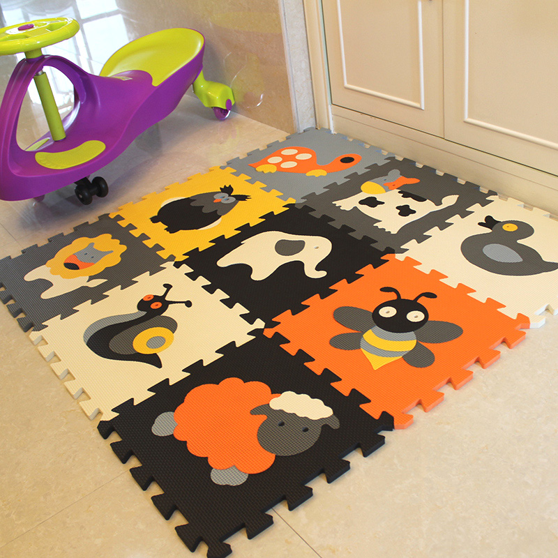 Mei qi frais 9 Pcs Modèle animal Mousse Puzzle Enfants Tapis Tapis Commune fendue EVA Tapis de Jeu pour bébé Intérieur Doux activité Puzzle Tapis