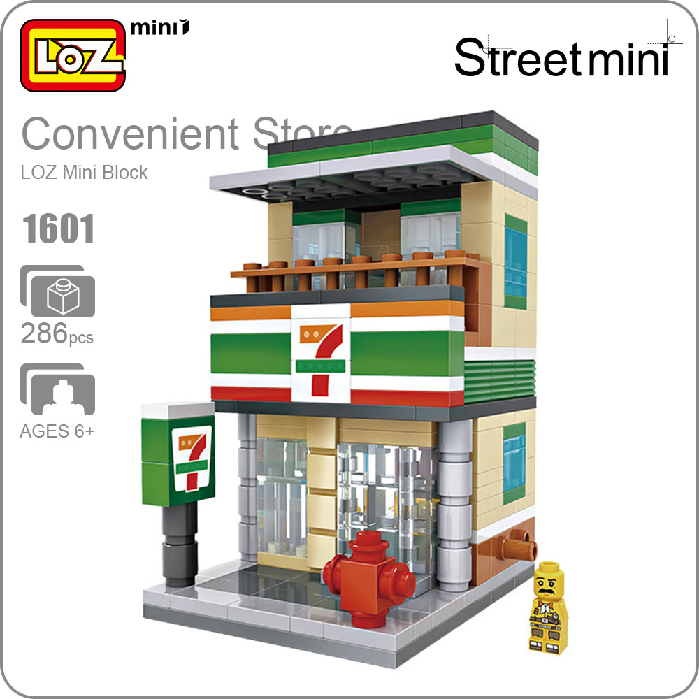 LOZ Mini Blocks Small Convenience Store Retail Store Shop Mini Street Scene Model Supermarket Building Blocks Architecture 1601 loz mini diamond block world famous architecture financial center swfc shangha china city nanoblock model brick educational toys