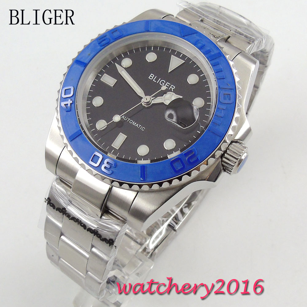 40mm Bliger black Dial Date Window Blue ceramic bezel Luminous Hands Men's Sapphire Glass Automatic Movement Watch коньки onlitop 223f 37 40 blue 806164