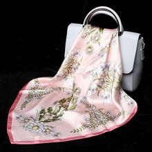 2019 Luxury Women Silk Scarf For Hair Pink Floral Printed Bag Neck Scarfs Female 53*53cm Neckerchief Headband Scarves For Ladies