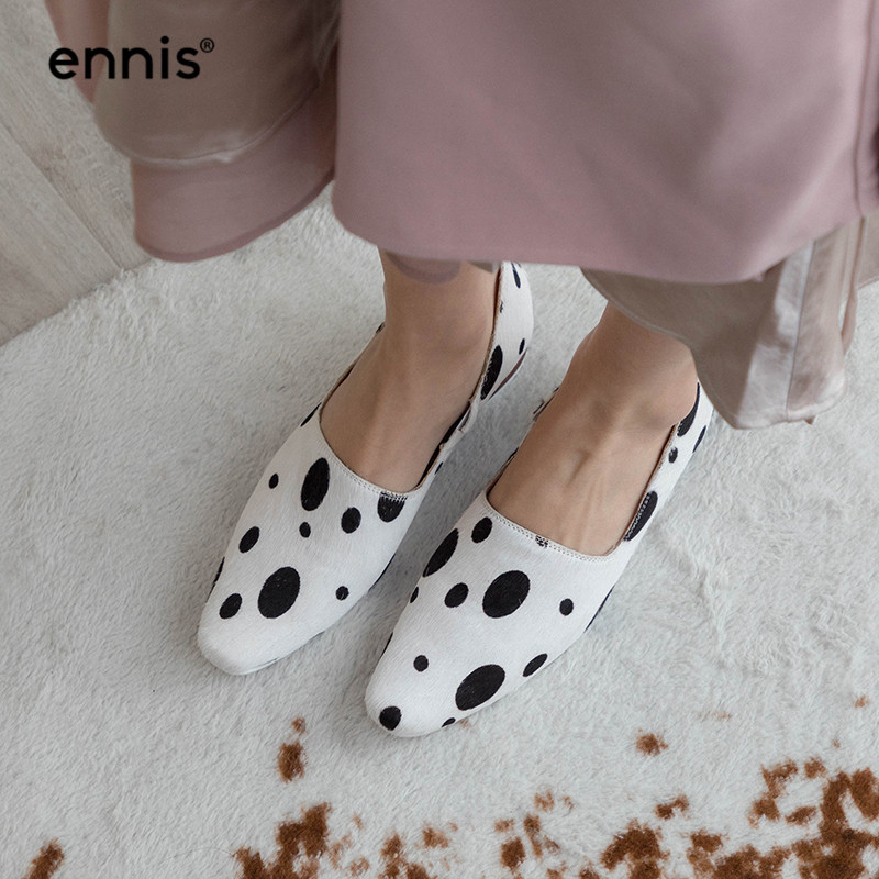 ENNIS 2019 White Black Horsehair Shoes Women Loafer Pumps Low Heel Casual Shoes Spring Fashion Round