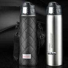 1000 ml thermos Edelstahl thermoflasche safe lock thermos vakuum mit tragbaren tasche große kapazität für reise picknick