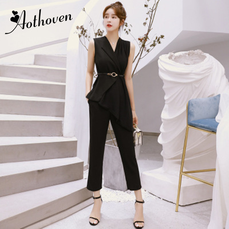 2 Pieces Set 2018 Summer Casual Office Suits For Women Asymmetrical Sleeveless Tops and Calf Length