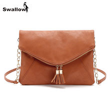 2016 Newest Tassel European Messenger Bags Clutches For Women Winter Casual Shoulder Envelope Bag PU Leather With Chain Strap(China)