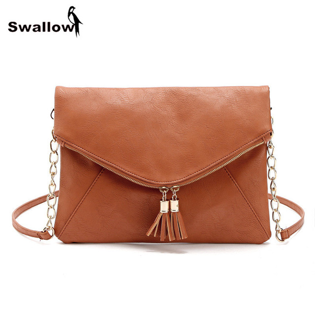 2016 Newest Tassel European Messenger Bags Clutches For Women Winter Casual Shoulder Envelope Bag PU Leather With Chain Strap