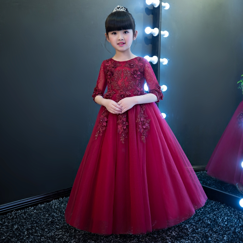 2017Luxury Girls Embroidery Princess Prom Lace Dresses Children Half Sleeves Mesh Birthday Party Wedding Gown Carnival Costume