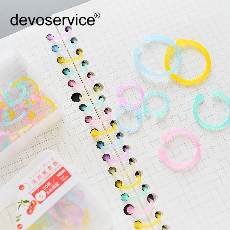 Multifunction Colorful Transparent PE Material Binder Clip DIY Pocket Binder Loose-leaf File Folder Diary Clips Binding Rings