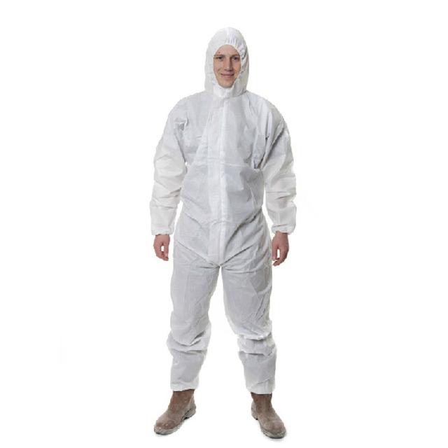 Anti-poeira spray Terno Siamese roupas não-tecido de roupas de segurança branco Em Segurança do trabalho 3 M roupas de Proteção química