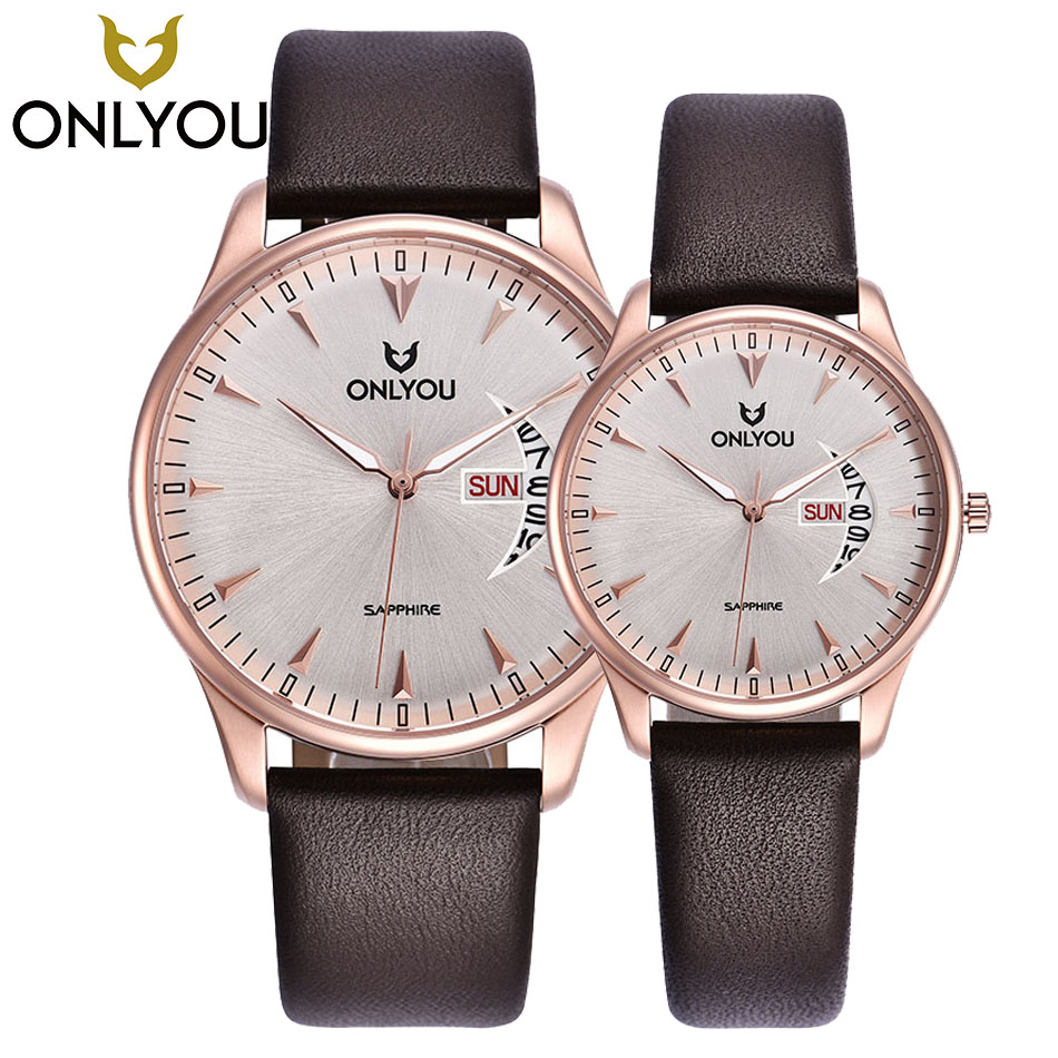 ONLYOU Lovers Watch Men Women Quartz Watches Retro Design Real Leather Band Couple Dress Calendar Waterproof Gift Wristwatches