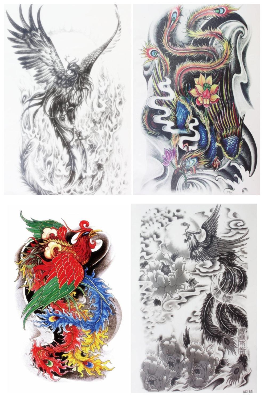 4 Pcs Set Waterproof Temporary Traditional Phoenix And Various Pattern Makeup Body Art 3d Tattoo Stickers Sticker Flower Sticker Notetattoo Aliexpress