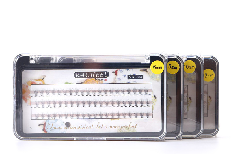 행운의 꽃 Racheel 뜨거운 판매 가짜 속눈썹 C 컬 틀린 가위 확장 자연 두께 (0.10mm) 6 / 8 / 10 / 12mm 옵션