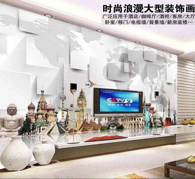 3d World Landscape Architecture Attractions Beautiful Living Room TV Backdrop Sofa Background Decorative Painting