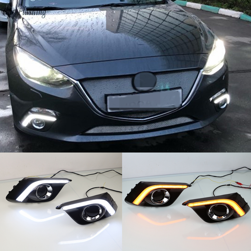 wholesale for Mazda 3 axela 2013 2016 Driving DRL with turn signal Daytime Running Light fog