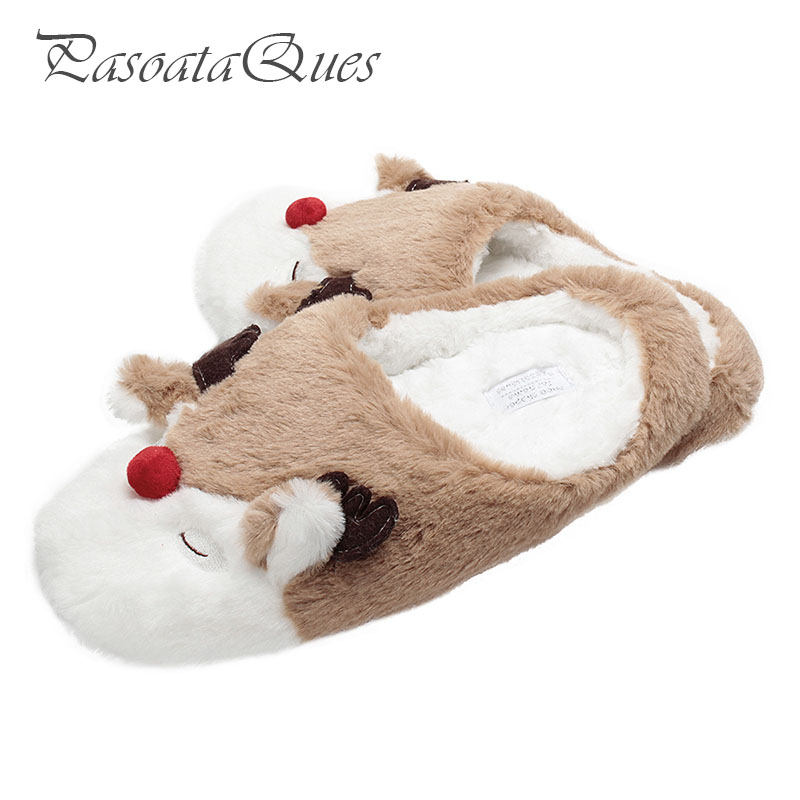 Elk Deer Winter Women Home Slippers For Indoor Bedroom House Soft Bottom Cotton Warm Shoes Adult Guests Flats Christmas Gift New cute sheep animal cartoon women winter home slippers for indoor bedroom house warm cotton shoes adult plush flats christmas gift