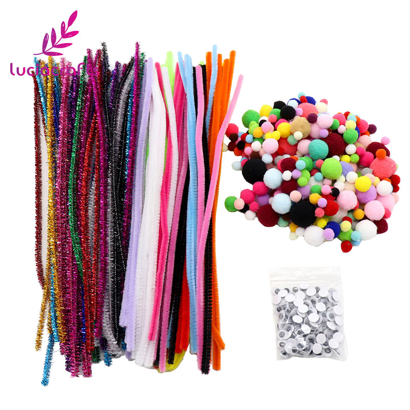 New arrivals 400pcs/lot Pipe Cleaners Chenille Stem Pompoms Googly Wiggle Eyes for DIY Toys Doll Crafts Decorations 020004024