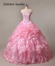Vestidos Quinceanera Partido Prom vestido Longo Vestido Rosa Querida Frisado vestido de Baile Juniors Barato Vestidos De Vestidos de 15 Años Doce 16 73