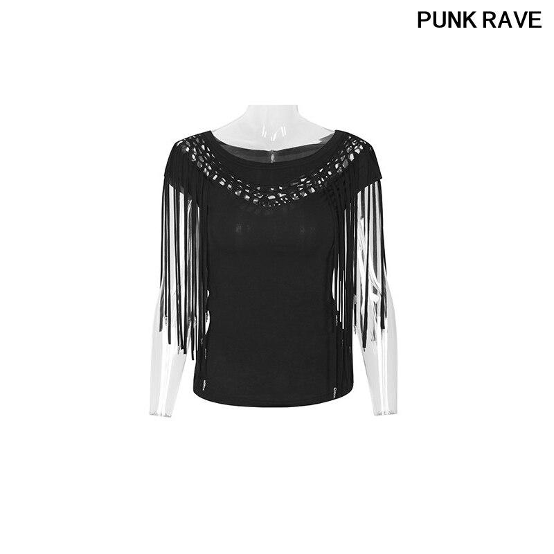 T-Shirt femme en coton noir à manches courtes populaire gland de mode Rock creux brûlé Marvel hauts en tricot t-shirts PUNK RAVE PT-066