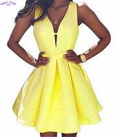 Для женщин Короткие вечерние платья с карманами Атлас онлайн v образным вырезом Пром вечерние платья спинки 2019 HDress 13