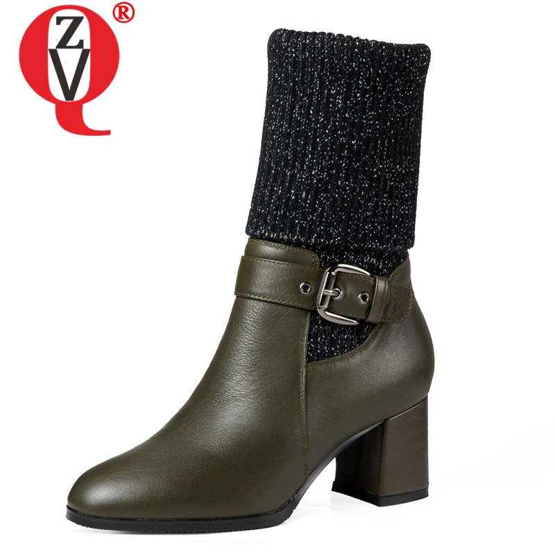 ZVQ newest fashion genuine leather winter plush outside women shoes high square heel round toe slip-on buckle mid calf bootsZVQ newest fashion genuine leather winter plush outside women shoes high square heel round toe slip-on buckle mid calf boots