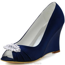 EP2009AW Ivory Blue Women Bride Bridesmaids Bridal Party Pumps Peep Toe High  Heel Satin Diamond Flower Lady Wedding Dress Shoes 2f6e3ceccafd
