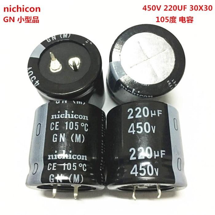 2PCS/10PCS 220uf 450v Nichicon GN 30x30mm 450V220uF Snap-in PSU Capacitor