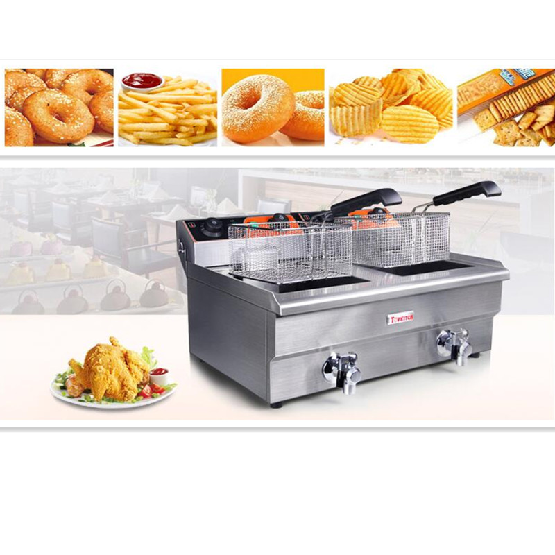220V 26L Double Cylinder/13L Single Cylinder Furnace Commercial Professional Electric Fryer French Fries Fried Chicken