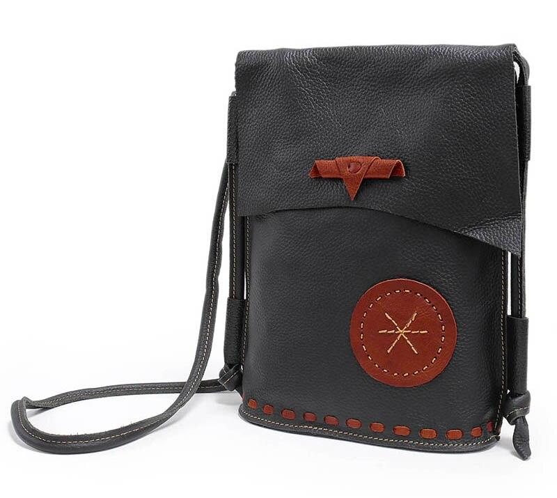 Nuleez couro genuíno bolsa de ombro artesanal